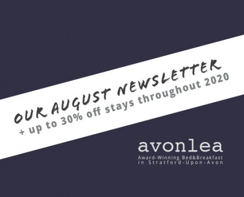 Stratford Bed and Breakfast August newsletter